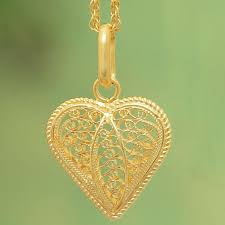 gold plated filigree heart necklace lace sweetheart