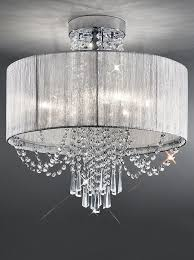 empress 6 light semi flush crystal ceiling light semi transpa silver shade fl2303 6