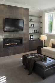 this modern touch on a mantle and television setup is extremely elegant the unique shape