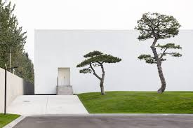 box shaped building with pine tree garden art museum by vermilion zhou design group