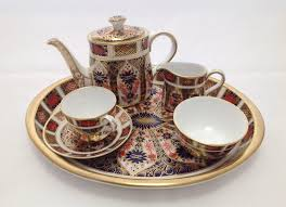 boxed royal crown derby old imari miniature tea set 1128 with certificate to expand