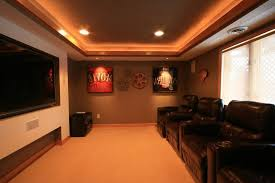 small man cave basement traditional with mancave leather theater seating1-