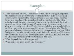 part writing a comparative essay ppt  6 example 1 john marsden s novel tomorrow when the war began
