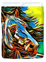 horse print double duvet cover colorful for by