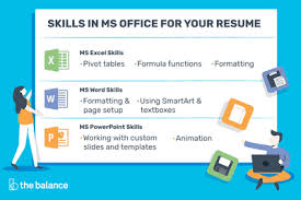 Different Types Of Skills For Resumes Microsoft Office Skills For Resumes