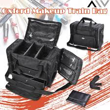 aw 1200d oxford pro black soft makeup train bag case pockets artist cosmetic organizer box with strap travel outdoor walmart