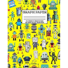 Graph Paper Notebook Cute Robot Robotic Pattern Yellow Cover Half College Ruled Half 4x4 Graphing Paper Composition Book Cute Patt Paperback