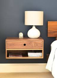 floating nightstand with drawer in walnut mid century modern wall mounted bedside shelf with drawer
