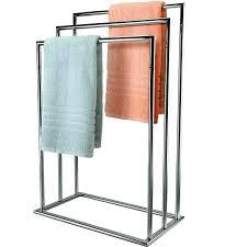 free standing towel rack wood elegant 3 tier rail chrome rac