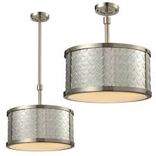 elk 31424 3 diamond plate brushed nickel flush mount light fixture drop lighting loading zoom