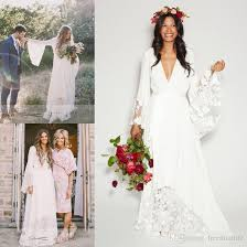 discount 2017 boho beach wedding dresses bohemian long bell sleeve
