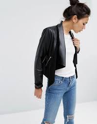asos leather waterfall jacket black womens asos leather jacket owchncyy larger image