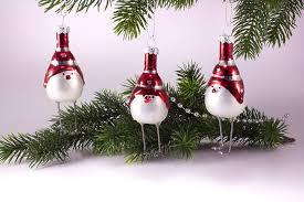 Drei Lustige Vögel Aus Glas Weiss Matt Handbemalt Dekoration Für Den Weihnachtsbaum