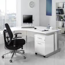 white office furniture ideas using white maple corner office desk with drawers and black wheels also silver metal base