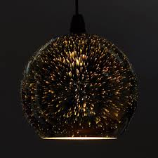 zodiac firework effect silver ball chrome glass ceiling pendant light shade