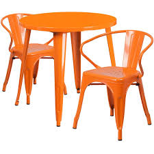 orange 30 round metal table with 2 arm chairs