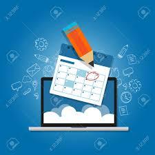 Online Planning Calendar Mark Circle Your Calendar Agenda Online Cloud Planning Laptop