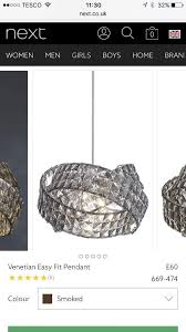 next smoked venetian easy fit pendant chandeliers