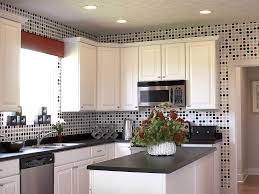 Charming Small Kitchen Decoration With Lovely Glass Tiles Polka Dot