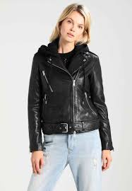 allsaints oversized hooded biker leather jacket black for women