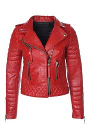 Red Leather Quilted Biker Jacket & Women's Red Leather Quilted Biker Jacket Adamdwight.com