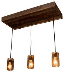mason jar chandelier with reclaimed wood and 3 pendants