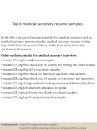 Medical Secretary Resume Examples top60medicalsecretaryresumesamples60conversiongate60thumbnail60jpgcb=160300275360 36