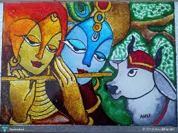 glass painting lord krishna in painting by anu bharathi