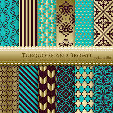 New Item added to my shop:Turquoise and Brown Digital Paper: Turquoise and  Brown Patterns for invitations, scrapbooking, cardmaking, turquoise and  brown ...