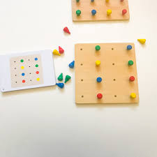 Wooden Peg Board Game Montessori Wooden Peg Boards Game Jolly B Kids 48