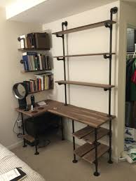 office desk shelves. Industrial Pipe And Walnut L-Shaped Desk With Shelves Office C