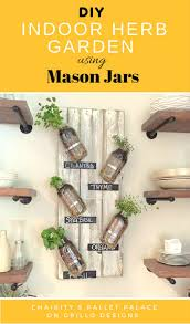 indoor herb garden using mason jars