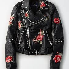 details about nwt american eagle women s embroidered studded faux leather moto jacket size m