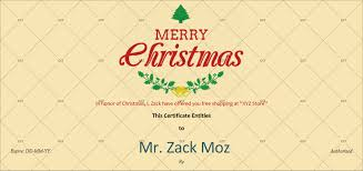 Shopping Spree Gift Certificate Template Christmas Gift Certificate Ivory Background