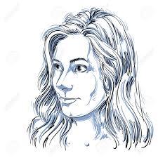 長いウェーブのかかった髪きれいな女性のイラストと魅力的な白人女性の