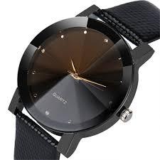 luxury quartz sport watches men women stainless steel dial leather band watch black