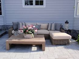 diy square wood outdoor low profile coffe table for patio with sectional rattan sofa bed with brown cushions and pillows ideas