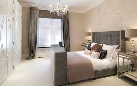 master bedroom wall paint design modern glass chandelier candle holders grey curtain ideas glass mirror bedside table black brown white bedding sets grey