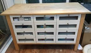 ikea varde freestanding 12 drawer kitchen unit solid wood piece beech