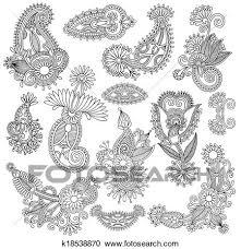 黒 線画 華やか 花 デザイン コレクション ウクライナ 民族 スタイル Autotrace の 手 図画