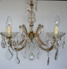 5 arm glass marie therese chandelier with clear drops