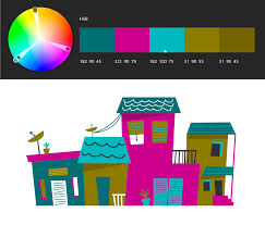 Photoshop create and save a color theme. Example: Triad color rule