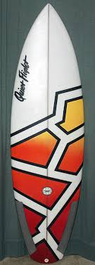 Dramatic geometric surfboard art. Can be accomplished with painters tape,  acrylic spray paint,