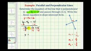 point slope form formula ex 2 find the equation of a line perpendicular to a given