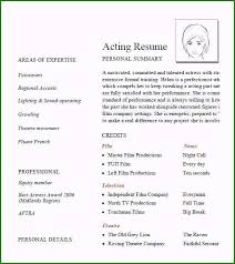 Acting Resume Outline Acting Resume Format Most Popular 7 Acting Resume Samples
