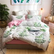 tropical leaves print bedding set
