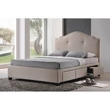 baxton studio armeena upholstered storage platform bed  light