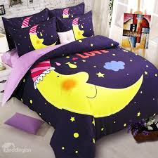 creative moon and stars pattern kids 4 piece duvet cover set