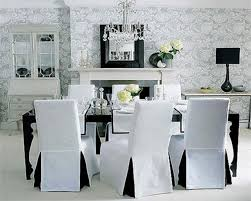 interior elegant white fabric dining chair cover with full length skirt entertaining room chairs covers