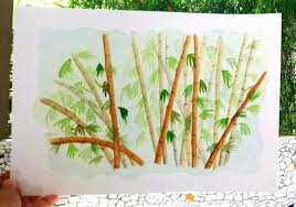 bamboo trees watercolor painting